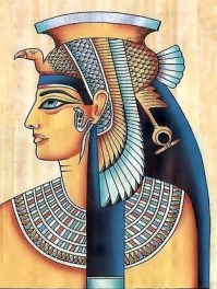 Cleopatra in a papyrus painting
