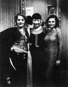 Marlene Dietrich, May Wong and German Filmmaker Leni Riefenstahl at the Pierre Ball, Berlin 1928