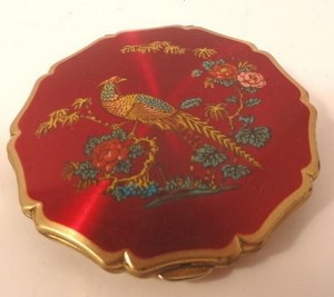 Vintage Stratton Red Enamel Peacock Compact