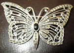 Sterling Silver & Opal Butterfly Brooch